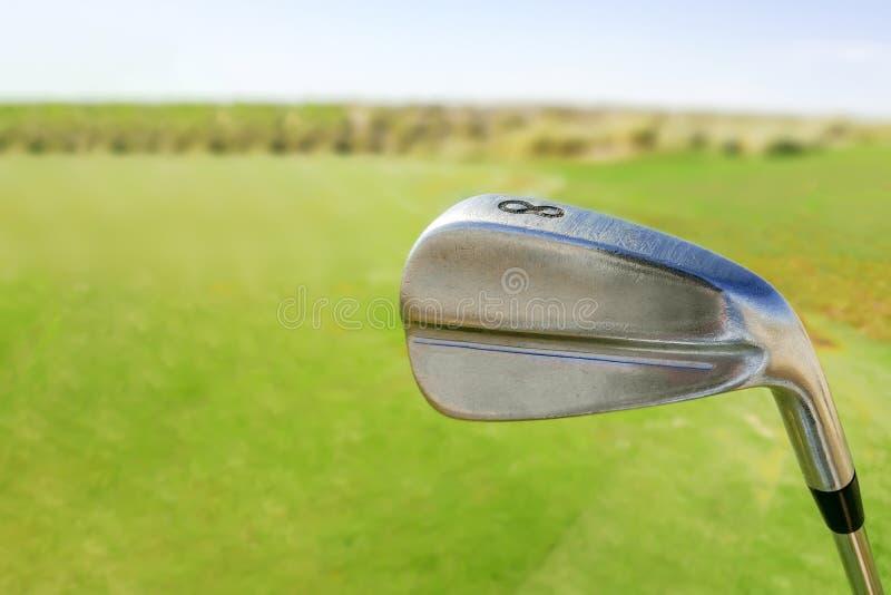 Golfklubb på kurs royaltyfri fotografi