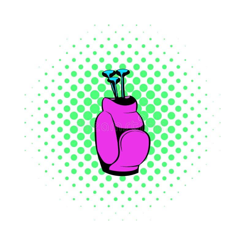 Golfklubbar i en rosa påsesymbol, komiker utformar royaltyfri illustrationer