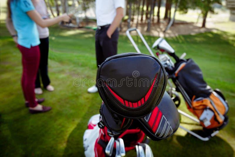 Golfklubbar i fall på gräsmatta royaltyfri bild