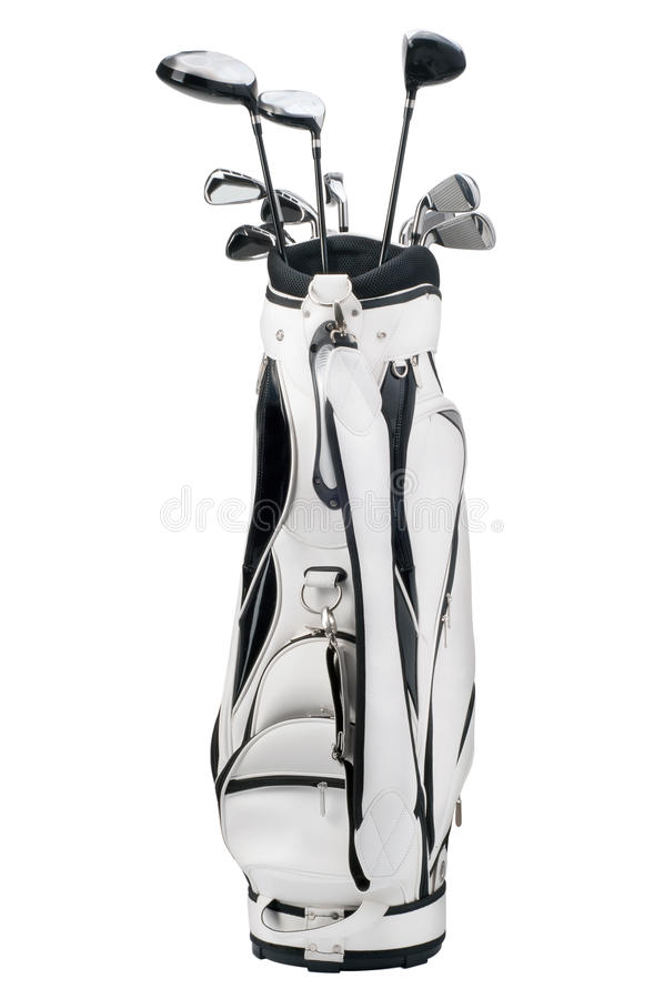 Golfklubbar i vit och svart hänger löst isolerat på vit royaltyfria bilder