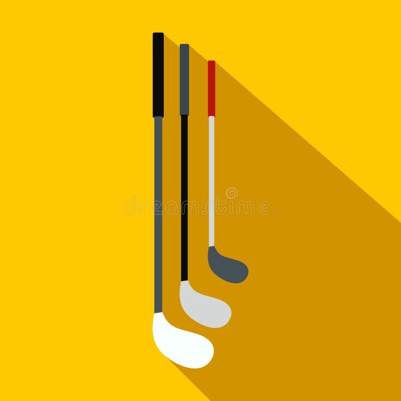 Golfklubbar sänker symbolen royaltyfri illustrationer