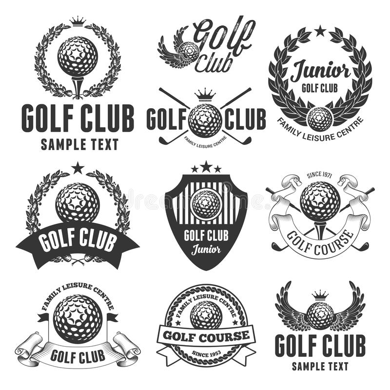 Golfklubbemblem royaltyfri illustrationer
