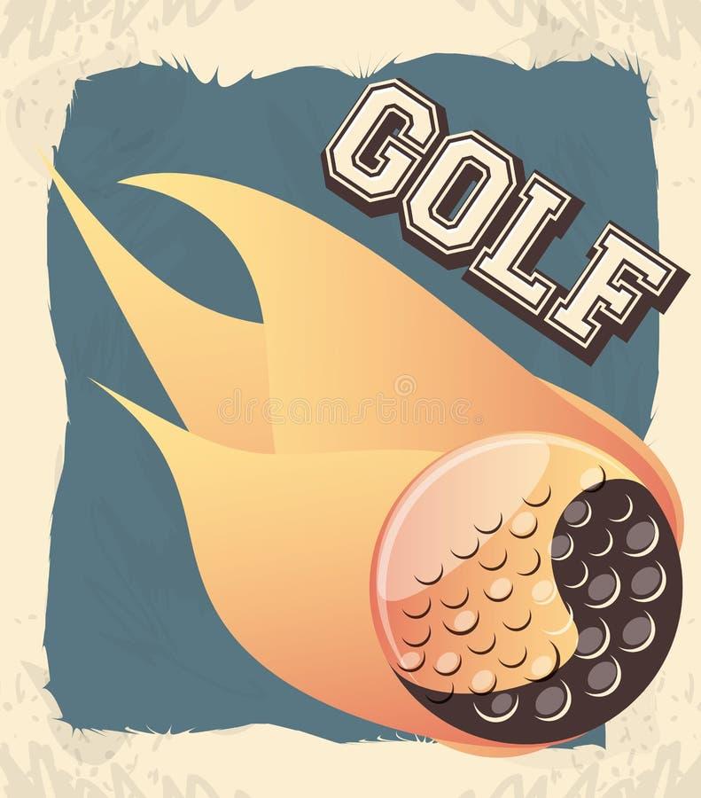 Golfklubbetikett med bollen och flamman royaltyfri illustrationer