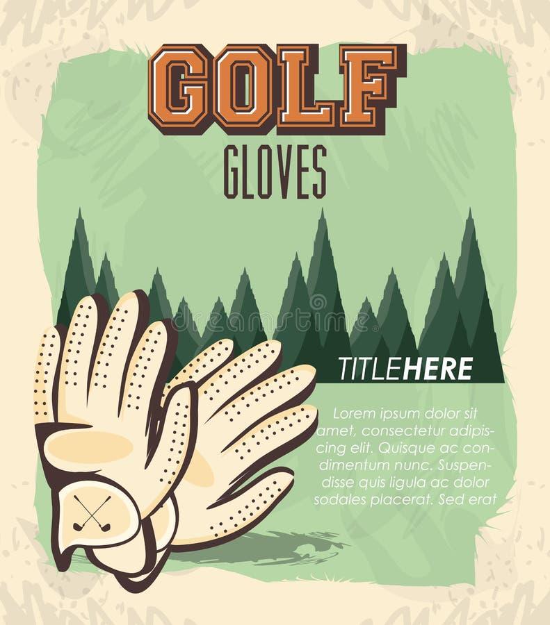 Golfklubbetikett med handskar vektor illustrationer