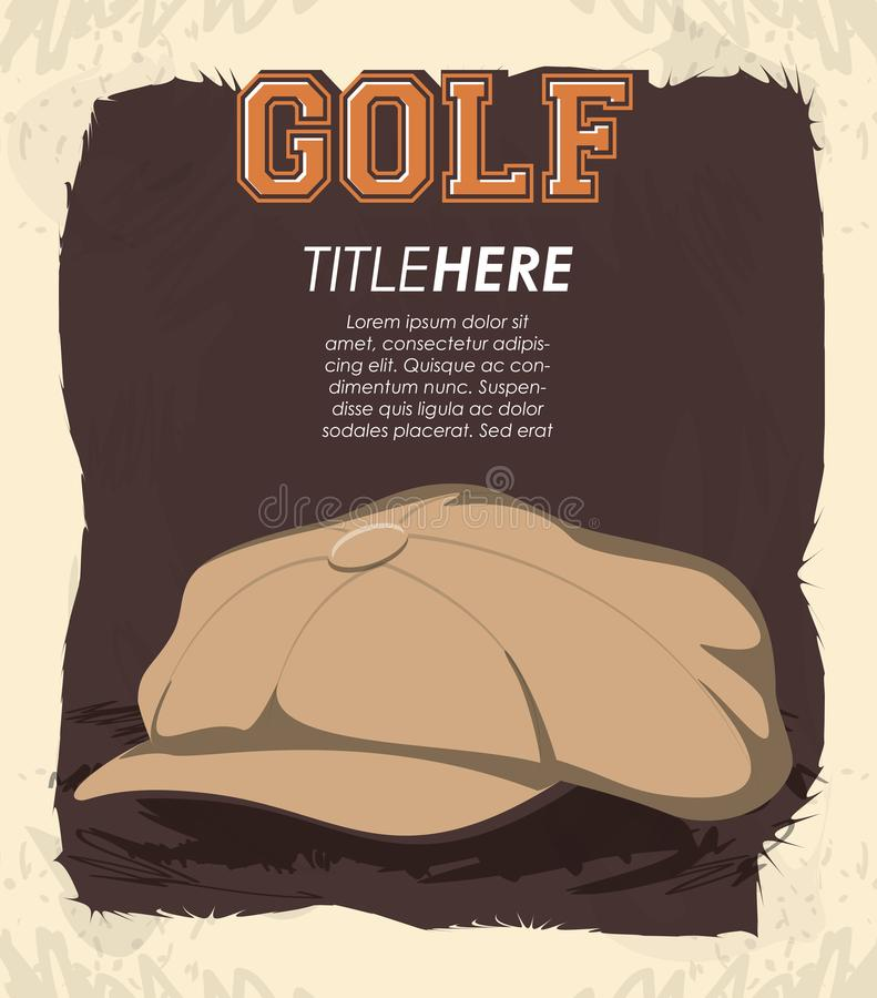 Golfklubbetikett med hatten royaltyfri illustrationer
