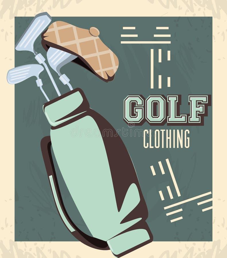Golfklubbetikett med teburkpåsen stock illustrationer