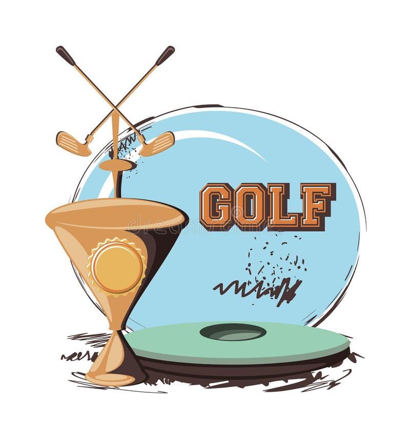 Golfklubbetikett med trofékoppen royaltyfri illustrationer