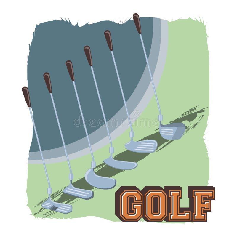 Golfklubbetikett med uppsättningpinnar vektor illustrationer
