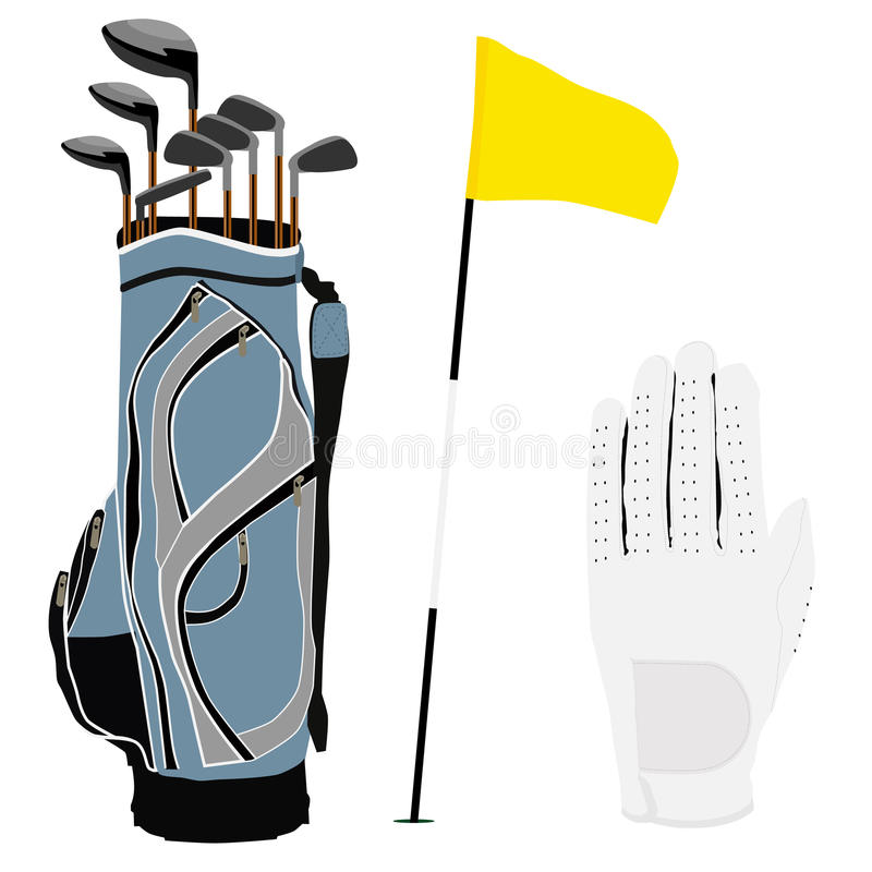 Golfklubbpåse, flagga och vithandske vektor illustrationer