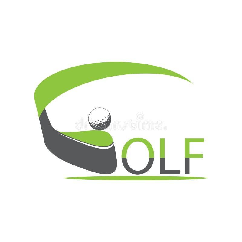 Golflogodesign med vit golfboll stock illustrationer
