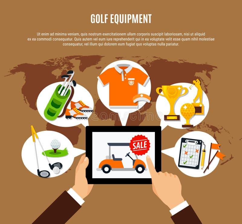 Golfmateriaal die Online Samenstelling kopen stock illustratie