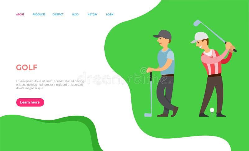 Golfmensen die Engels Spel op Gebiedsweb spelen royalty-vrije illustratie