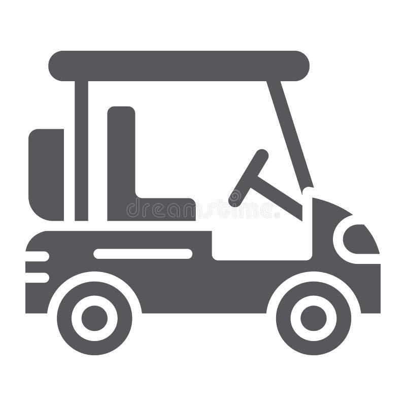 Golfmobil Glyphikone, -transport und -selbst, Golfautokennzeichen, Vektorgrafik, ein festes Muster auf einem weißen Hintergrund lizenzfreie abbildung