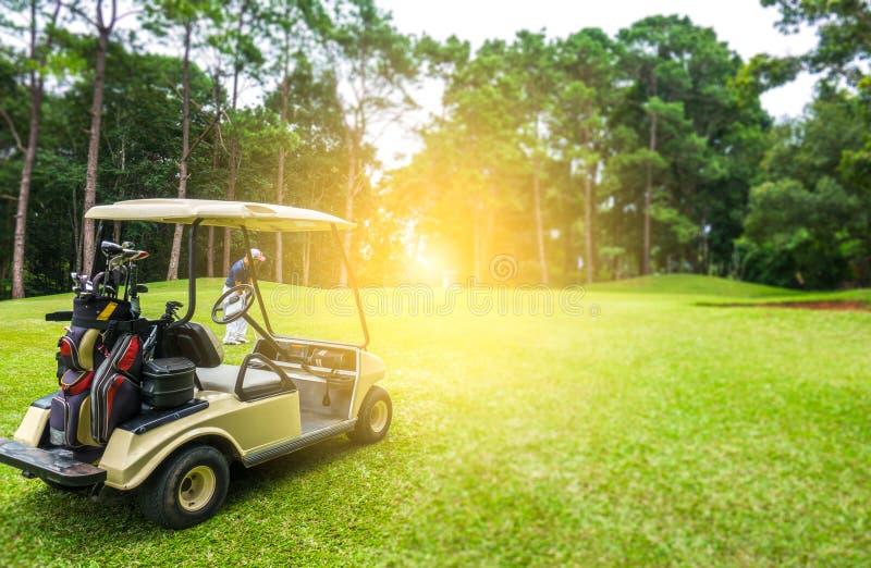 Golfmobil und Golfspieler auf Fahrrinne im Golfplatz lizenzfreie stockfotografie