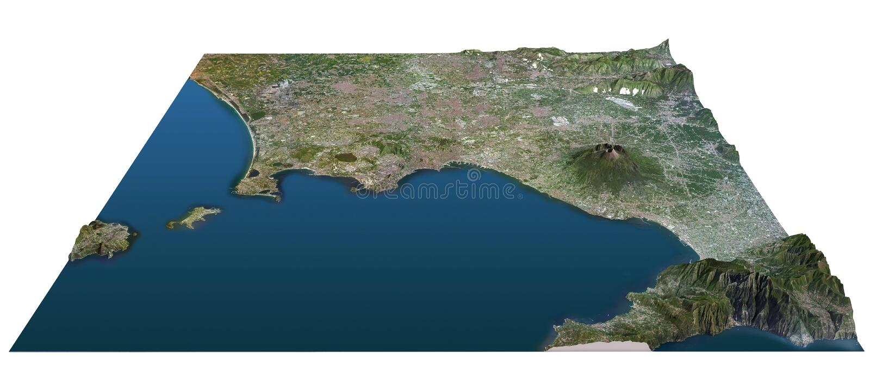 Golfo del mapa de Nápoles, corte transversal, Vesuvio libre illustration