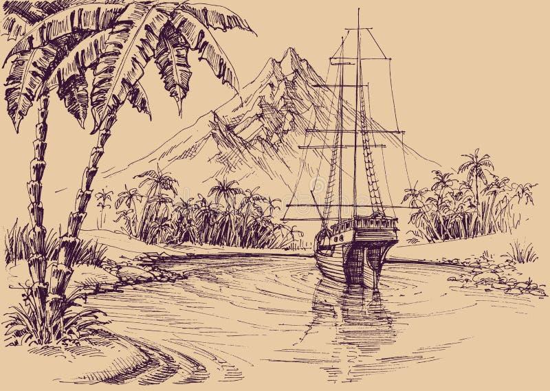 Golfo y barco tropicales ilustración del vector