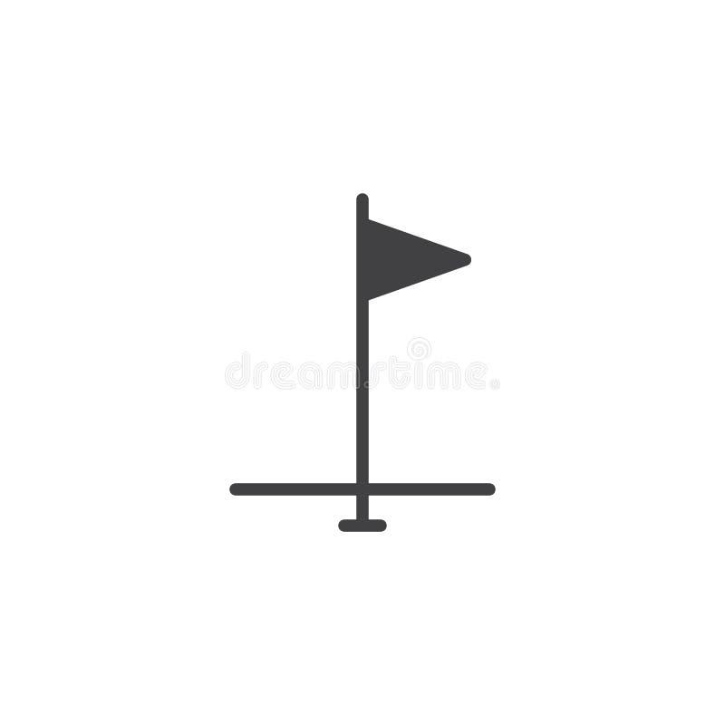 Golfowa chorągwiana wektorowa ikona ilustracji
