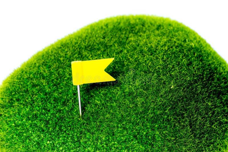 Golfowa Zielona Żółta flaga zdjęcia stock