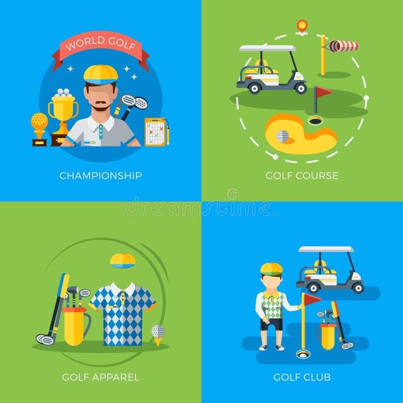 Golfowe 2x mieszkania ikony royalty ilustracja