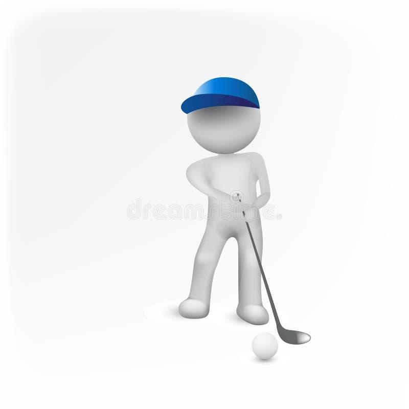 Golfowego gracza 3d ludzie obsługują błękitnego postać loga ilustracja wektor