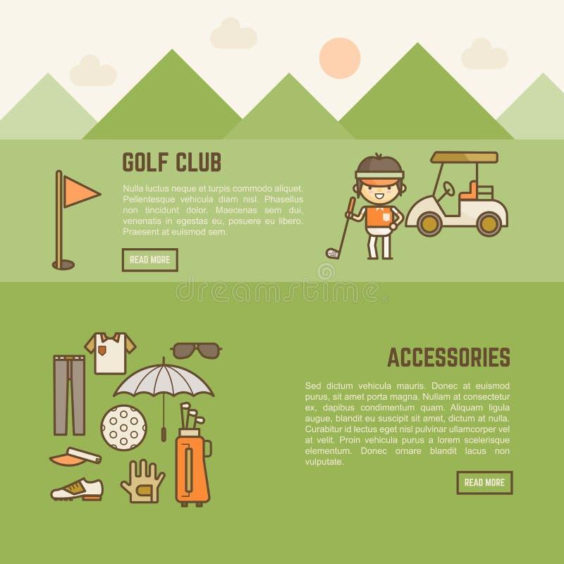 Golfowego gracza i akcesoriów sztandar ilustracji