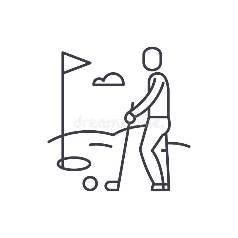 Golfowego gracza linii ikony pojęcie Golfowego gracza wektorowa liniowa ilustracja, symbol, znak royalty ilustracja