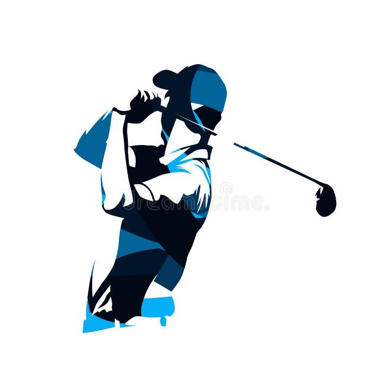 Golfowego gracza wektorowy logo, abstrakcjonistyczna błękitna sylwetka royalty ilustracja