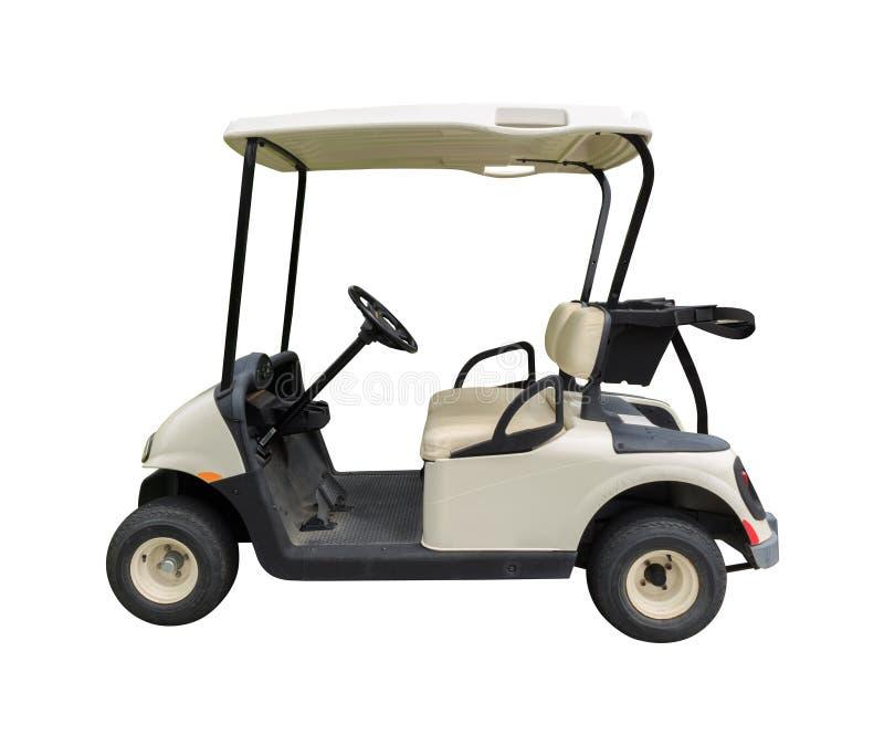 Golfowej fury golfcart na bielu obraz stock