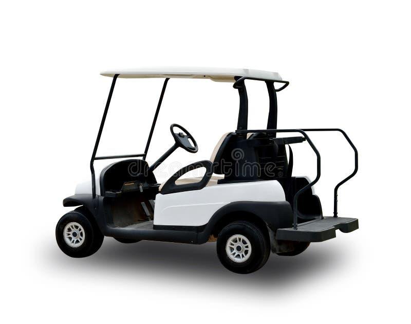Golfowej fury golfcart odizolowywający na białym tle fotografia royalty free