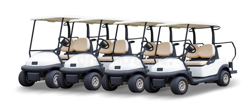 Golfowej fury golfcart odizolowywający na białym tle zdjęcie stock