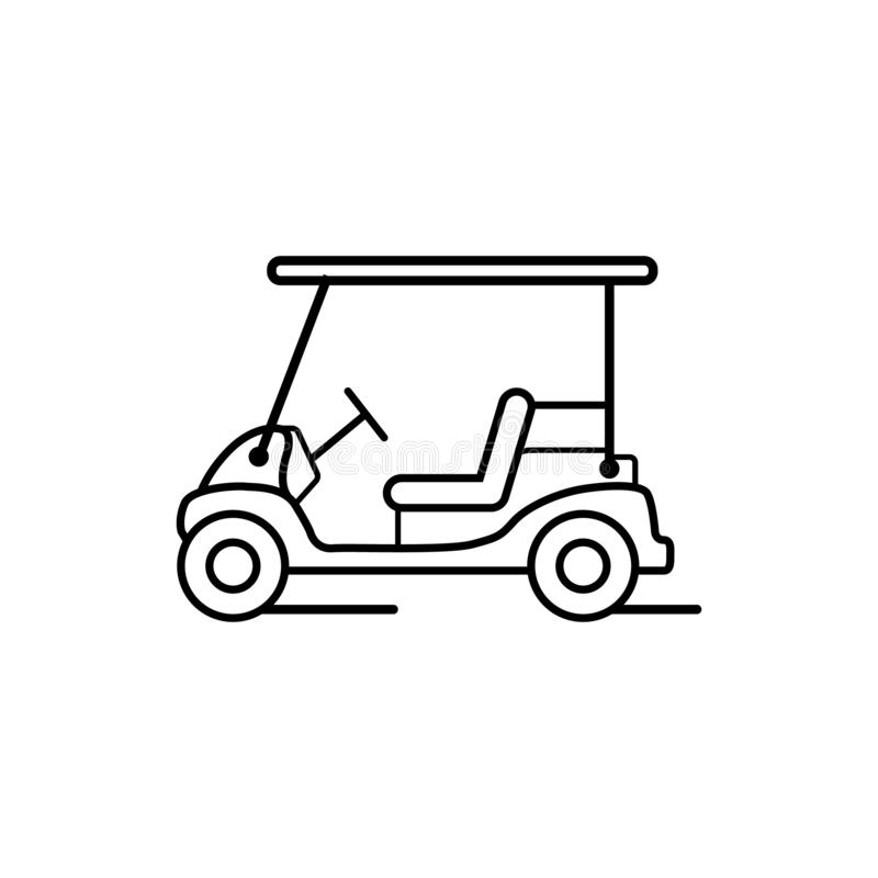 Golfowej fury lub golf kreskowej sztuki samochodowego stylu wizerunku wektorowy projekt ilustracji