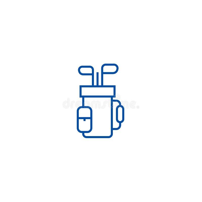 Golfowej torby linii ikony pojęcie Golfowej torby płaski wektorowy symbol, znak, kontur ilustracja ilustracji
