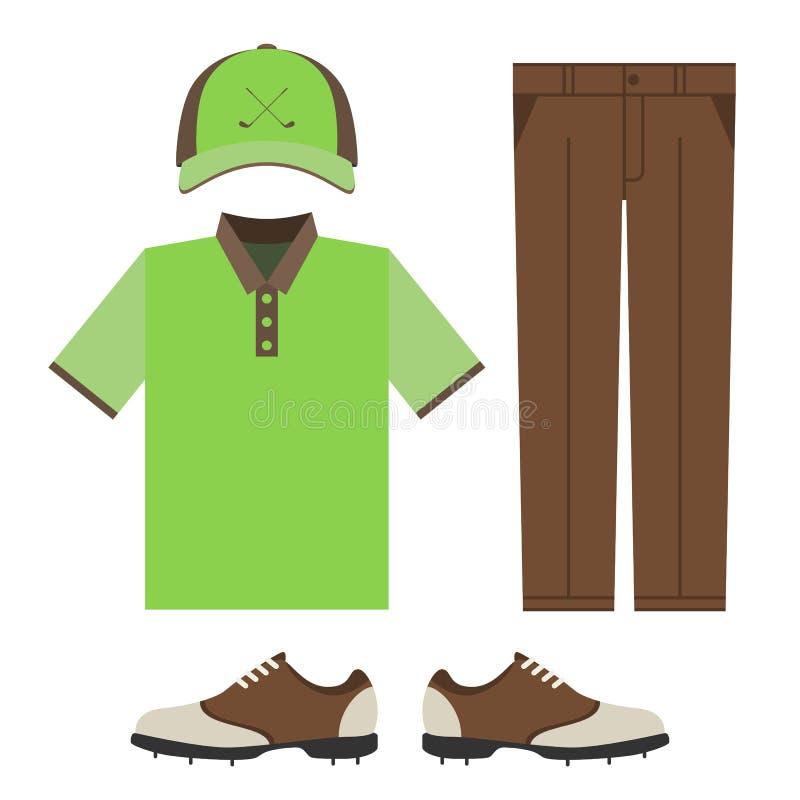 Golfowi kolorowi ubrania ustawiający ilustracji