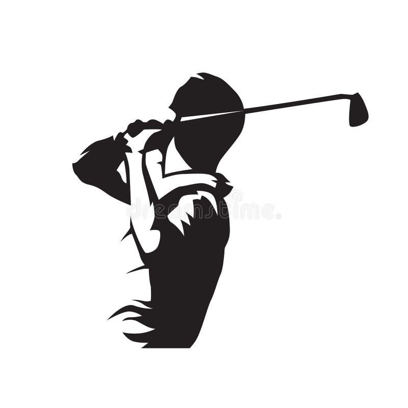 Golfowy gracz, odosobniona wektorowa sylwetka ilustracja wektor