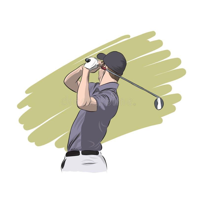 Golfowy gracz z kierowcą, wektorowa ilustracja royalty ilustracja