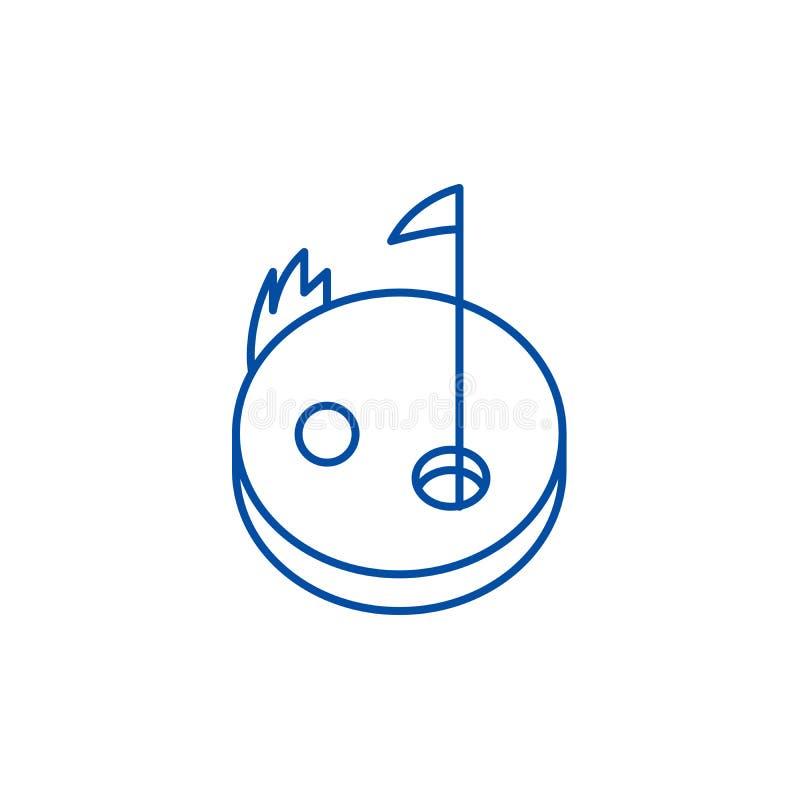 Golfowy kreskowy ikony pojęcie Golfowy płaski wektorowy symbol, znak, kontur ilustracja ilustracja wektor