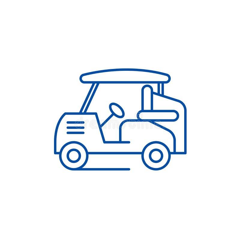 Golfowy samochód linii ikony pojęcie Golfowy samochodowy płaski wektorowy symbol, znak, kontur ilustracja ilustracji