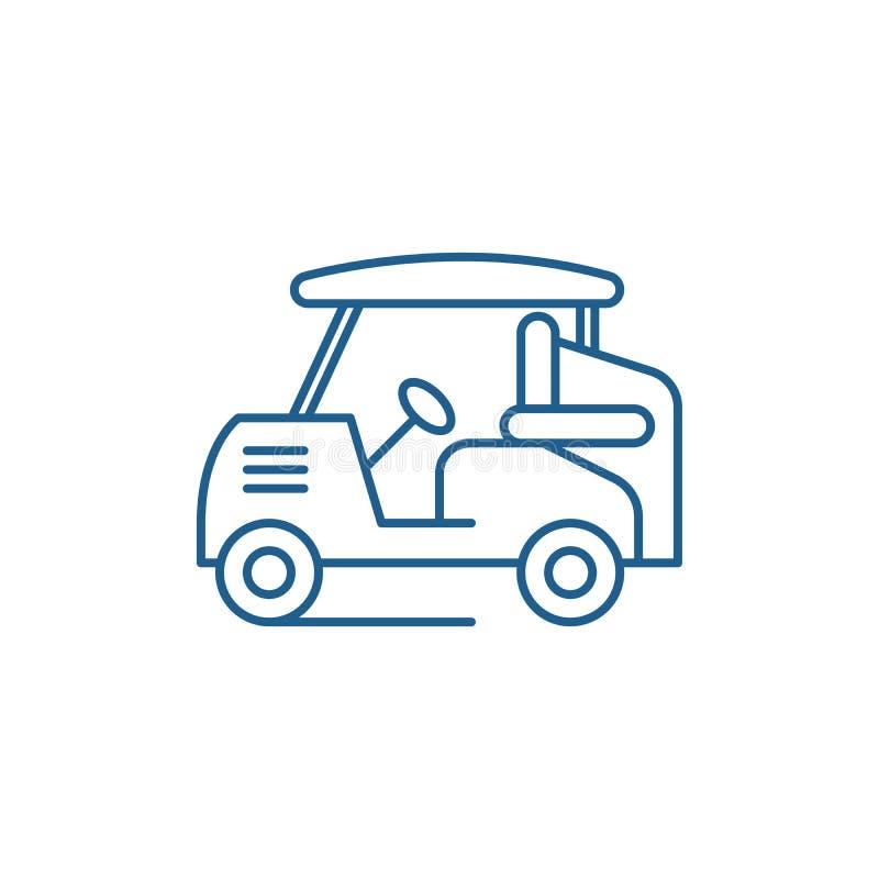 Golfowy samochód linii ikony pojęcie Golfowy samochodowy płaski wektorowy symbol, znak, kontur ilustracja ilustracja wektor