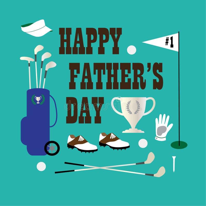 Golfowy szczęśliwy ojca dzień ilustracji