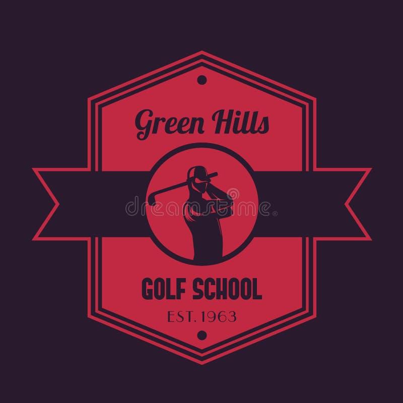 Golfowy szkolny rocznika logo, emblemat z golfistą ilustracja wektor