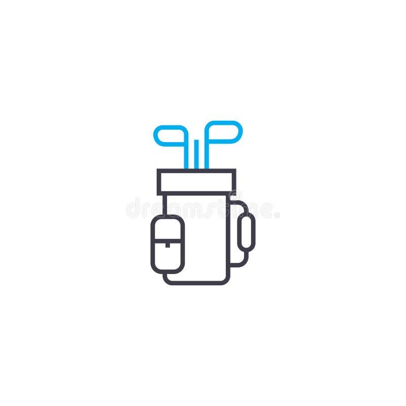 Golfowych akcesoriów ikony liniowy pojęcie Golfowych akcesoriów wektoru kreskowy znak, symbol, ilustracja royalty ilustracja