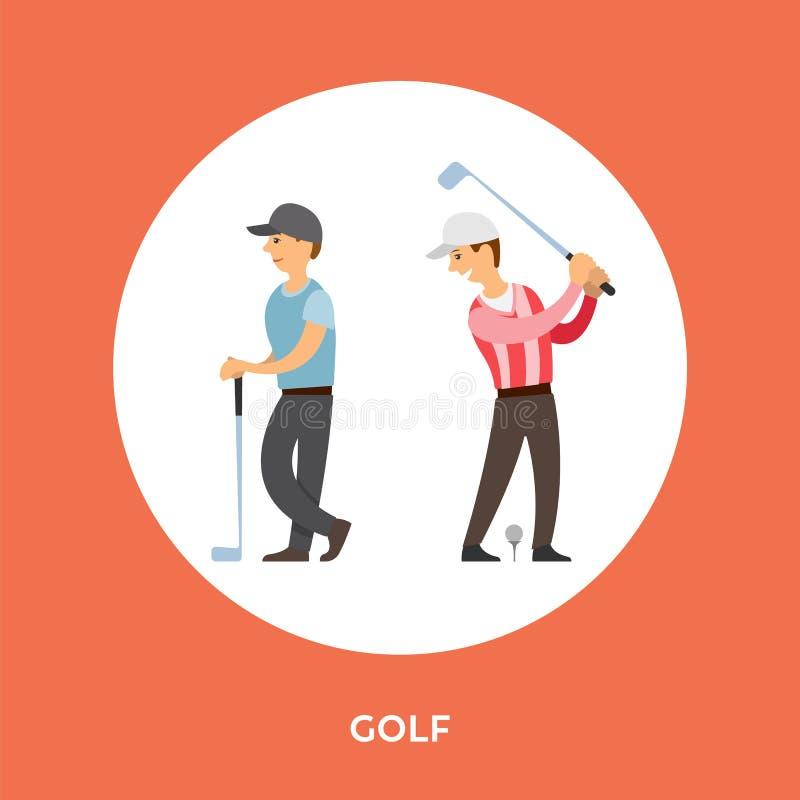 Golfowych graczów postacie z kreskówki, trójnika kij wektor ilustracji