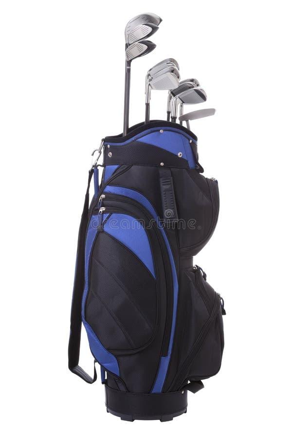 Golfpåse och klubbor för blå black som isoleras på white royaltyfria bilder