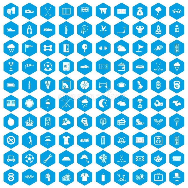 100 golfpictogrammen geplaatst blauw stock illustratie