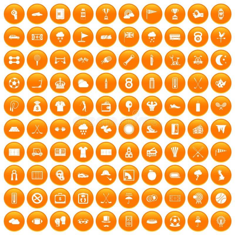 100 golfpictogrammen geplaatst oranje royalty-vrije illustratie
