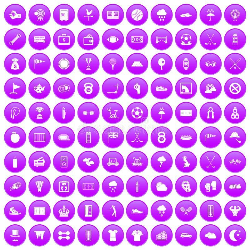 100 golfpictogrammen geplaatst purper vector illustratie