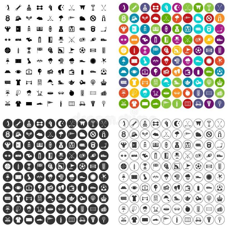 100 golfpictogrammen geplaatst vectorvariant royalty-vrije illustratie