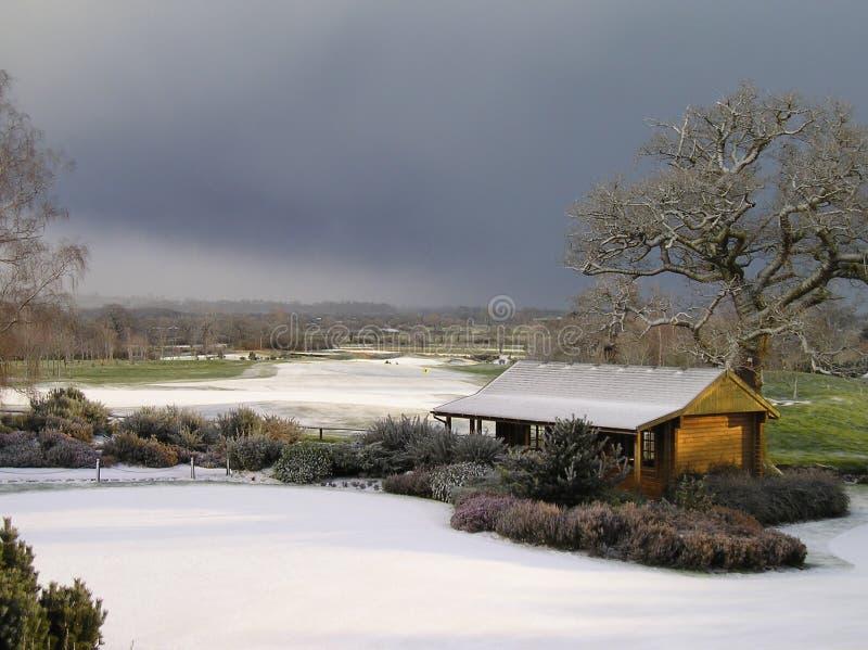 Golfplatz im Schnee stockbild