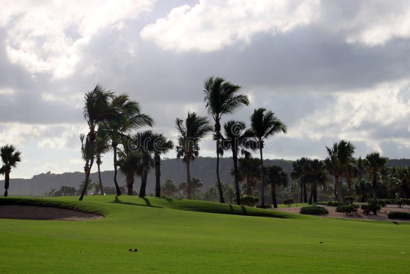 Golfplatz in Karibikinsel mit Ozean in der Rückseite lizenzfreies stockfoto