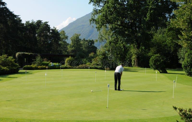 Golfplayers op de Golfcursus van Ascona in Lago Maggiore stock fotografie